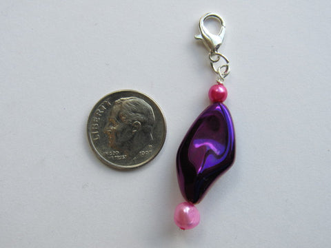 Zipper Pull w/Baroque Pearl ~ Purple w/pearls - Pink