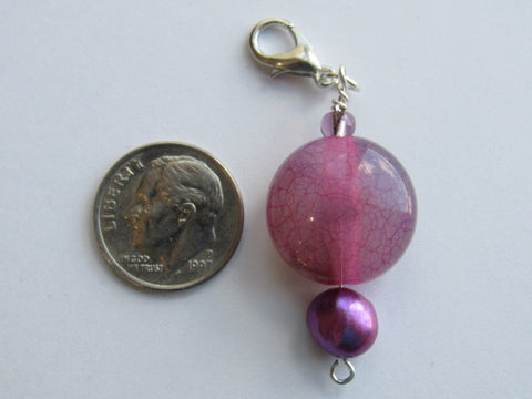 Zipper Pull w/Baroque Pearl ~ Pink/Purple Stone - we have a few, each one a bit different!