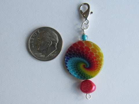 One of a Kind - Zipper Pull w/Baroque Pearl ~ Tie Dyed w/Red Pearl - PRETTY!!!