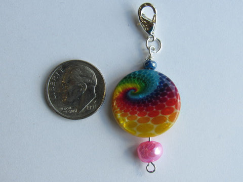 One of a Kind - Zipper Pull w/Baroque Pearl ~ Tie Dyed w/ Pink Pearl - PRETTY!!!
