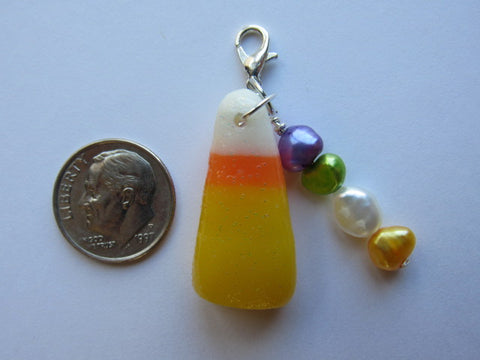 One of a Kind - Zipper Pull w/Baroque Pearls ~ Candy Corn #3 - SO CUTE!