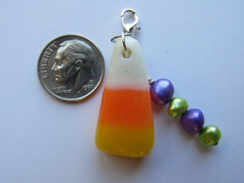 One of a Kind - Zipper Pull w/Baroque Pearls ~ Candy Corn #5 - SO CUTE!