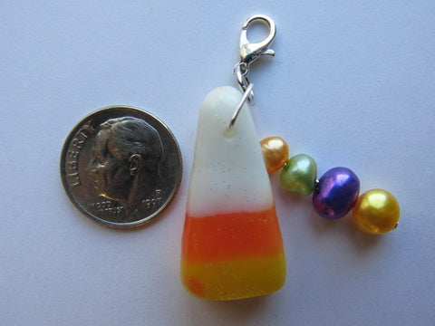 One of a Kind - Zipper Pull w/Baroque Pearls ~ Candy Corn #8 - SO CUTE!