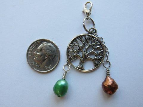 One of a Kind Zipper Pull w/Baroque Pearls ~ Tree of Life