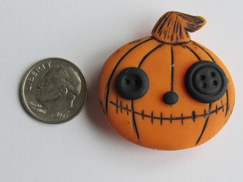 Needle Minder ~ Pumpkin w/Button Eyes  (Clay)