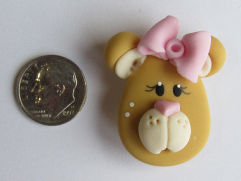 Needle Minder ~ Bow Bear (Clay) Special Price for Valentine's Day!!! ONE OF A KIND!