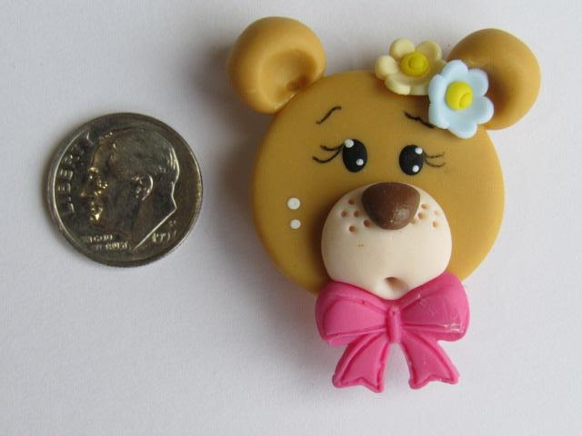 Needle Minder ~ Bear w/Dark Pink Bow (Clay) Special Price for Valentine's Day!!!