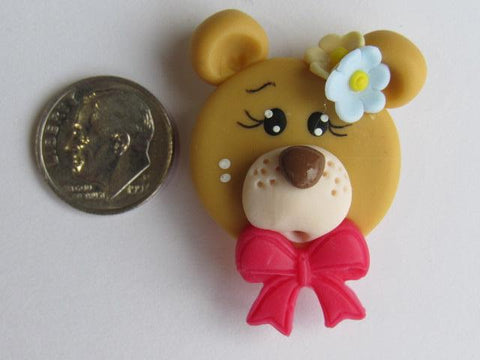 Needle Minder ~ Bear w/Red Bow (Clay) Special Price for Valentine's Day!!!