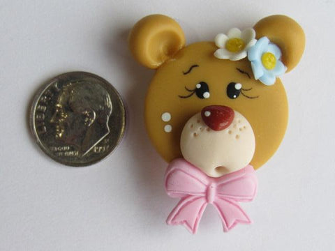 Needle Minder ~ Bear w/Light Pink Bow (Clay) Special Price for Valentine's Day!!!