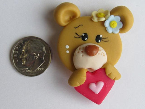 Needle Minder ~ Bear w/Heart (Clay) Special Price for Valentine's Day!!!