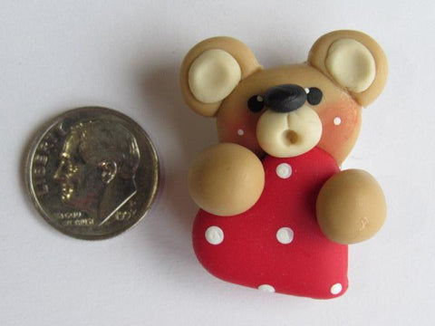 Needle Minder ~ Bear w/Red Heart (Clay) Special Price for Valentine's Day!!!