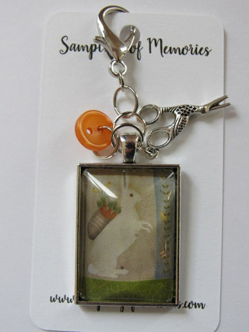 Sampling of Memories ~ White Hare w/Carrots Scissor Keep