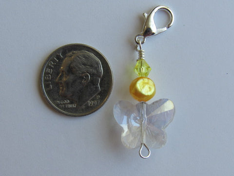 One of a Kind - Clip/Zipper Pull w/Baroque Pearl ~ Crystal Butterfly w/yellow pearl