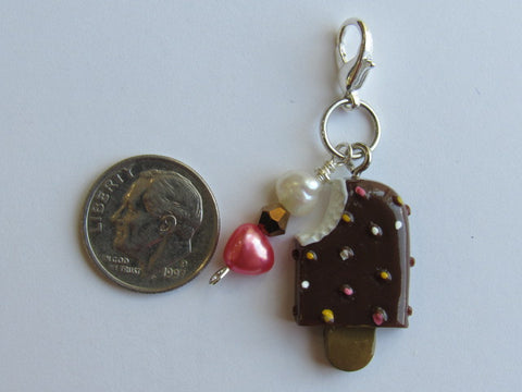 One of a Kind - Clip/Zipper Pull w/Baroque Pearl ~ Chocolate Ice Cream Pop