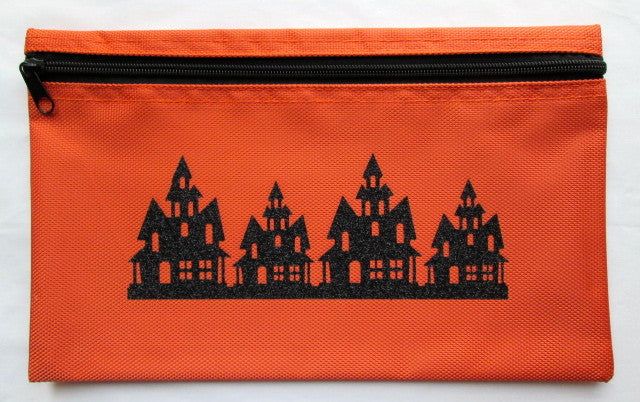 Haunted Houses ~ Orange/Black Glitter Gadget Bag