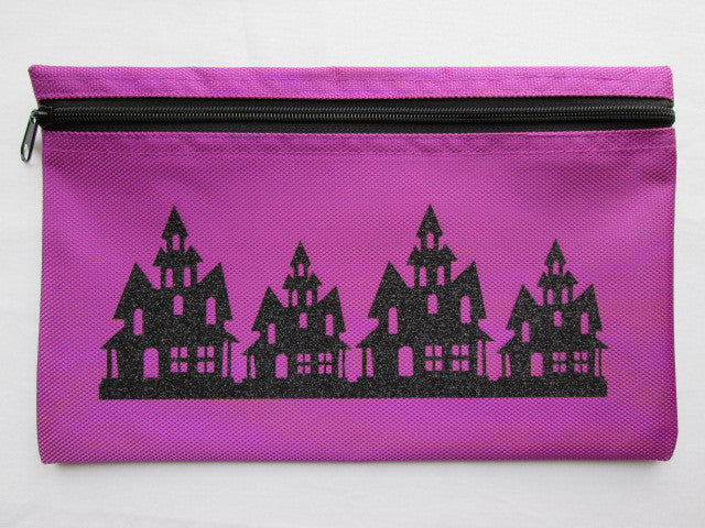 Haunted Houses ~ Purple/Black Glitter Gadget Bag