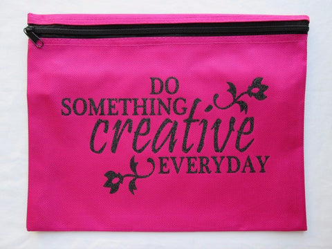 Do Something Creative... ~ Black Glitter Project Bag (Various Colors)