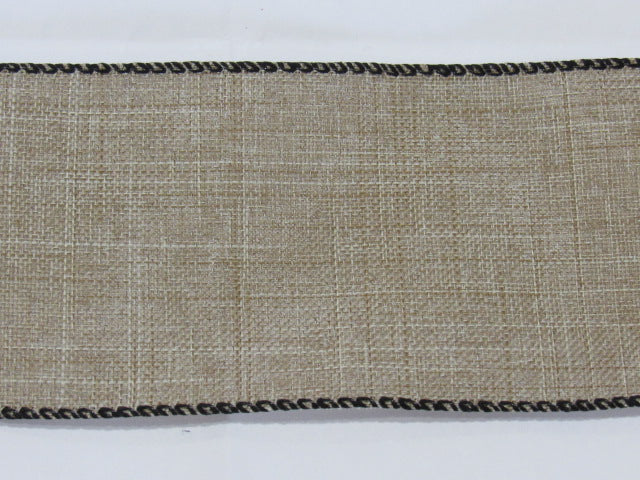 "36ct Linen Banding ~ Natural/Raw with black edges ~ 2 1/2"" Wide X 36"""