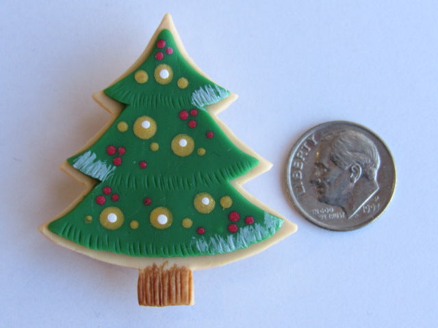 Needle Minder - Christmas Tree ~ Hand Painted Clay