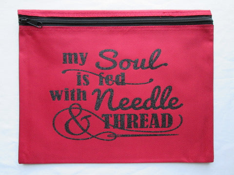 My Soul Is Fed... ~ Black Glitter Project Bag (Various Colors)