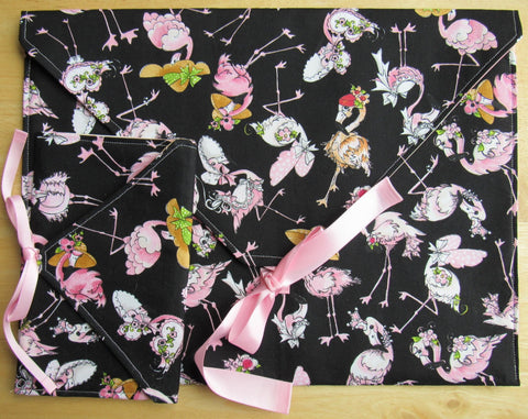 Envelope Project Bag Set ~ Pink Flamingos Wearing Hats