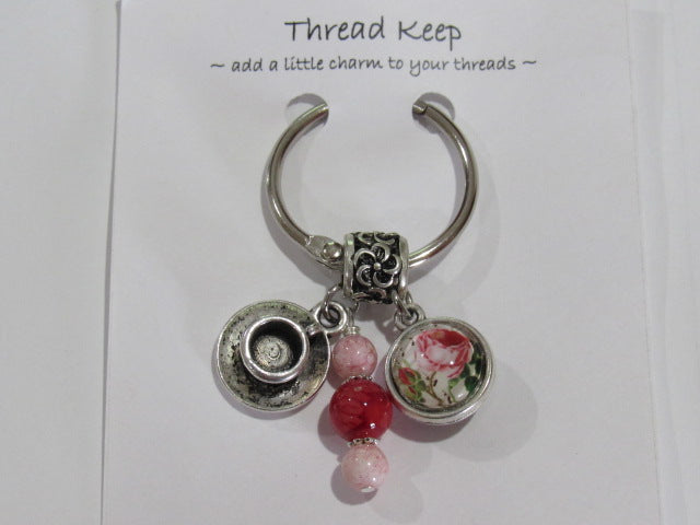 Pink Rose Tea Cup Thread Keep  - **Very limited # available!