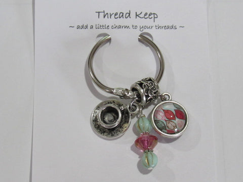 Pink/Green Tea Cup Thread Keep  - **Very limited # available!