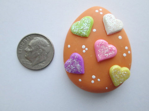 Needle Minder ~ Orange Hearts Easter Egg (Clay) ONE OF A KIND!