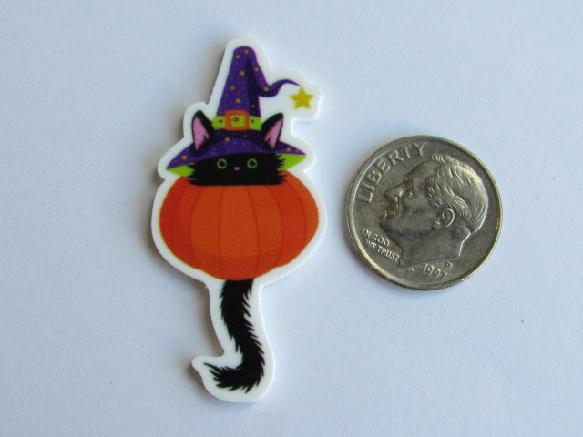 Needle Minder ~ Witchy Kitty in Pumpkin