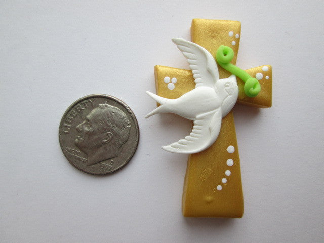 Needle Minder - Golden Cross w/Dove (Clay)