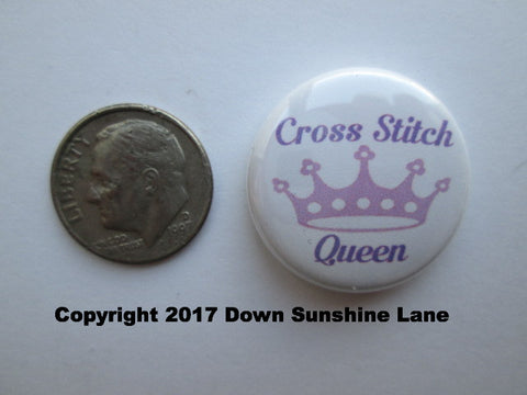 "1"" Button Magnet ~ Cross Stitch Queen"