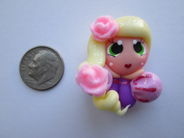 Needle Minder ~ Pink Flower Princess (Clay)