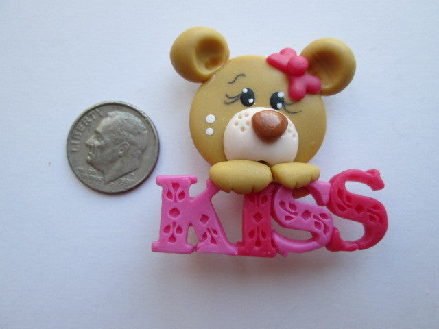 Needle Minder ~ Kiss Bear #1 (Clay) ONE OF A KIND!