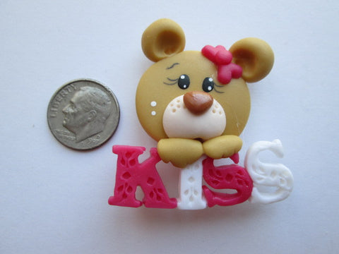 Needle Minder ~ Kiss Bear #3 (Clay) ONE OF A KIND!