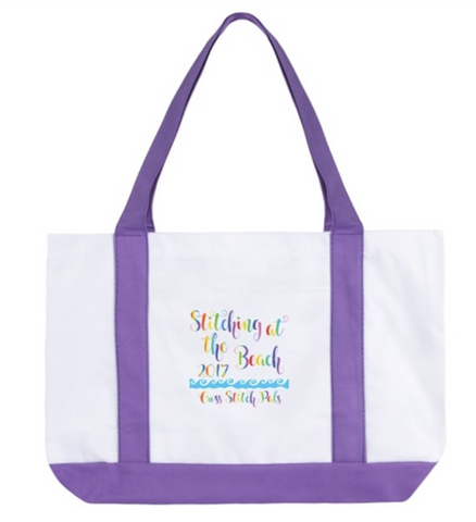 Stitching at the Beach 2017 Colorful Tote Bag w/Pocket