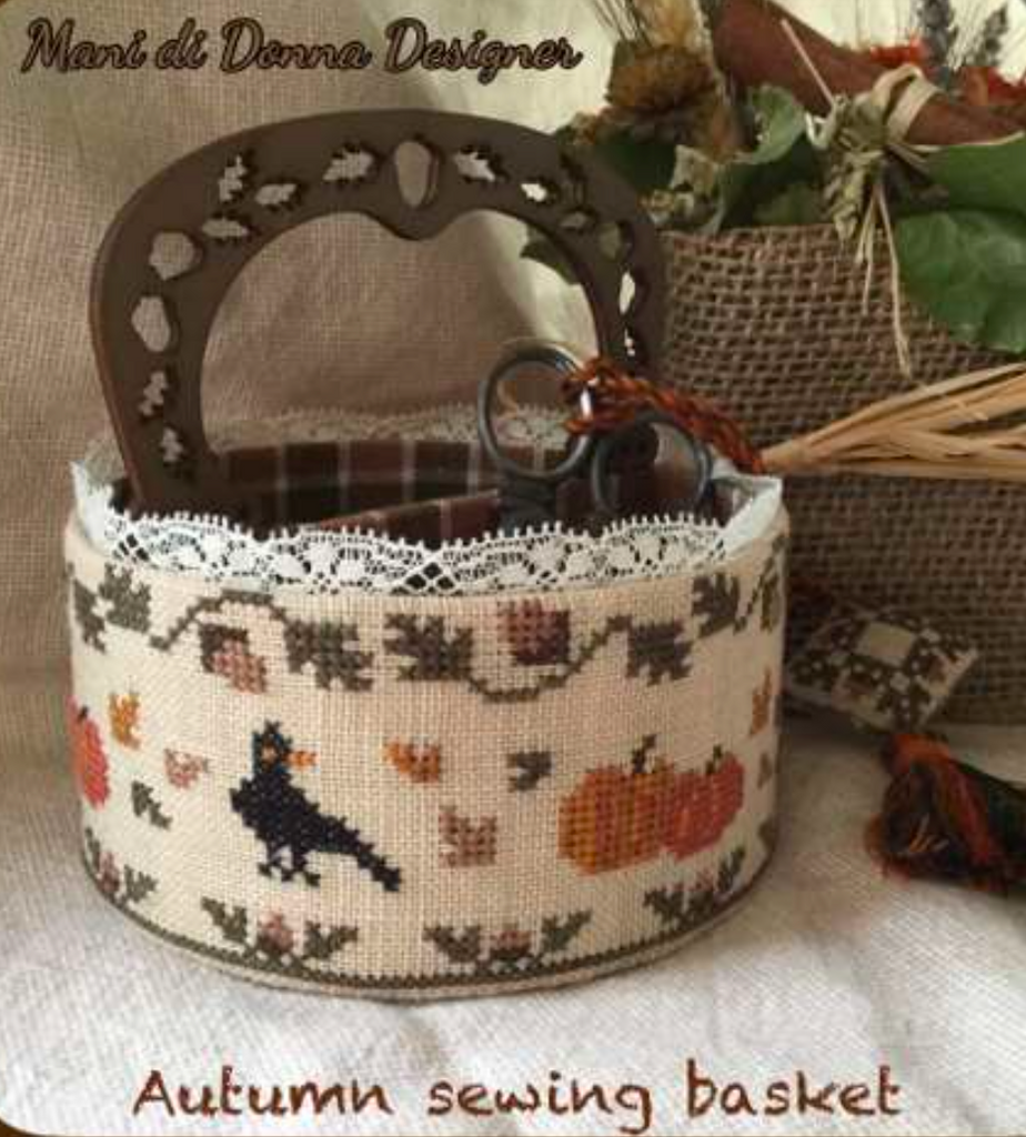 Mani di Donna ~  Autumn Sewing Basket w/handle