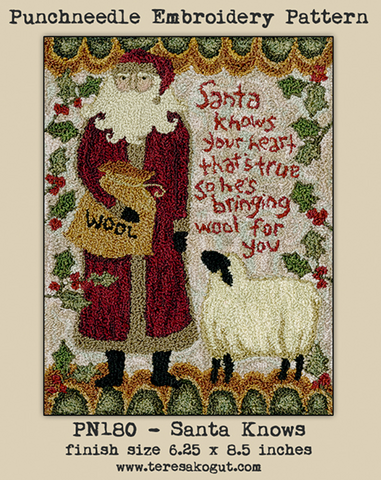 Teresa Kogut ~ Santa Knows Punch Needle w/fabric