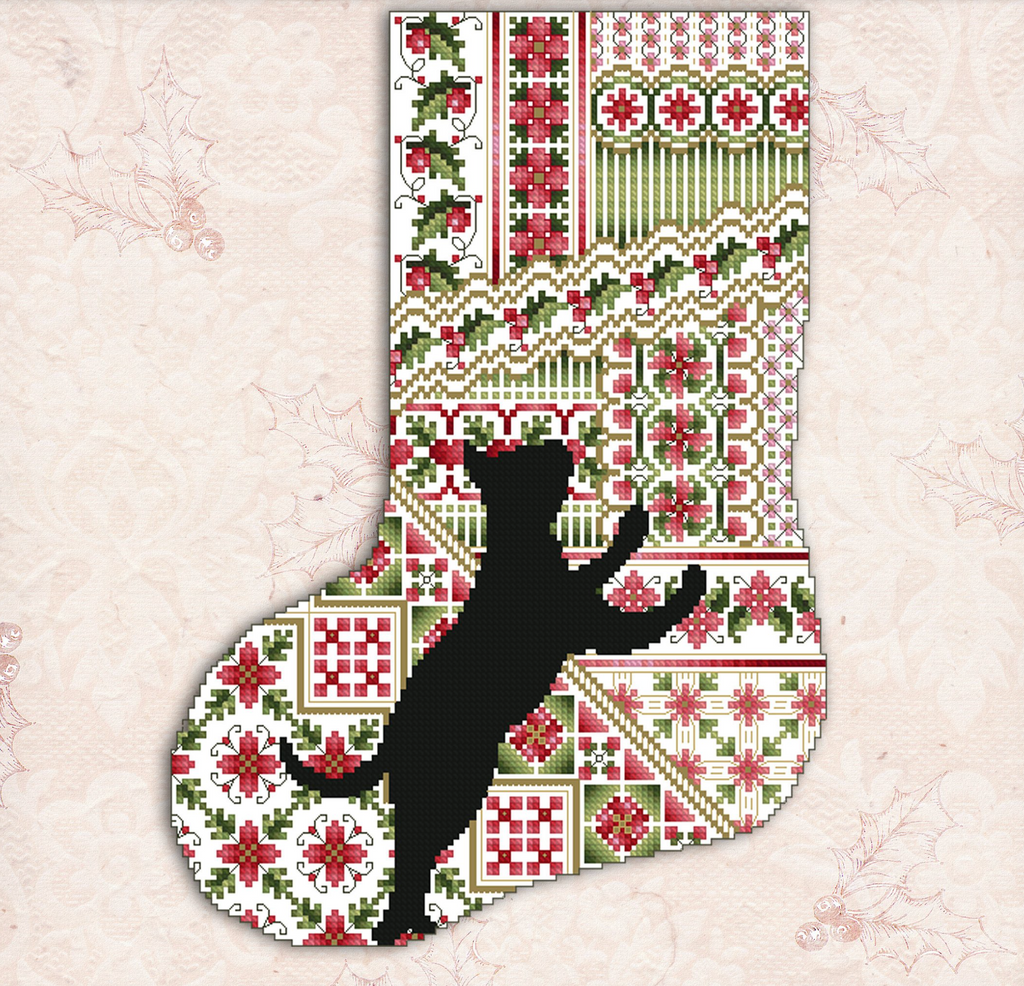 Kitty And Me Designs ~ Cats & Stockings Poinsettia