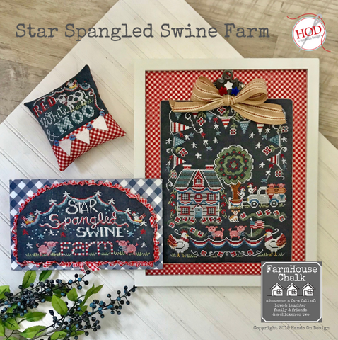 Hands On Design ~ Star Spangled Swine Farm Pattern - PRE-ORDER for early June shipment!