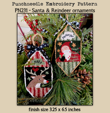 Teresa Kogut ~ Santa & Reindeer Ornaments Punch Needle w/fabric