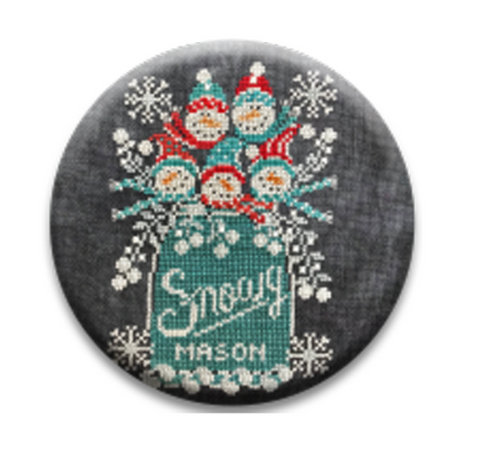 Hands On Design  ~ Chalk Full Snowy Jar Needle Nanny (Limited # In-stock!)