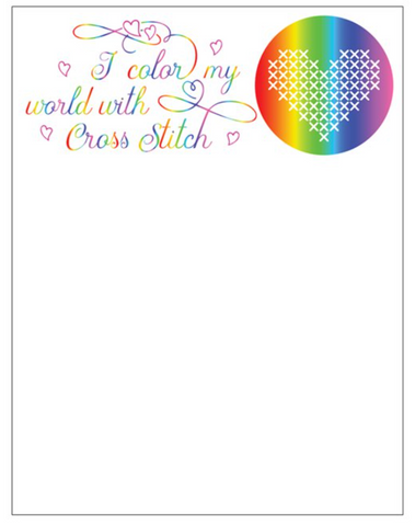 I Color My World With Cross Stitch Notepads