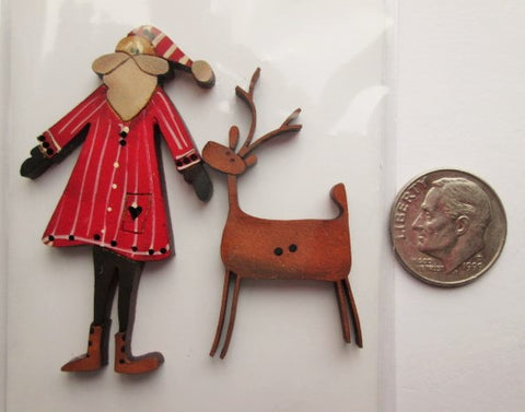 Hand Painted Buttons - Santa & Deer #1