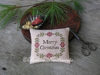 Beehive Needleworks ~ Christmas Wreath Pin Pillow