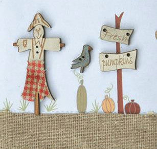 The Bee Company ~ Scarecrow & Fresh Pumpkins Buttons