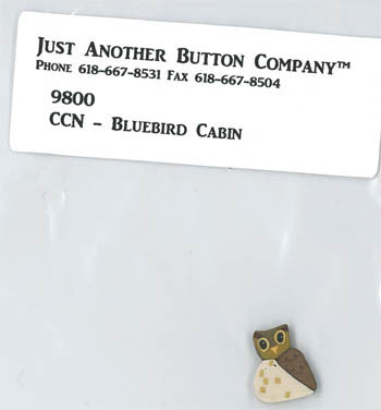 Country Cottage ~ Bluebird Cabin JABC Owl Button