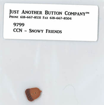 Country Cottage ~ Snowy Friends JABC Acorn Button