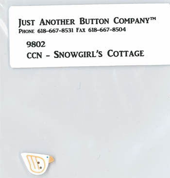 Country Cottage ~ Snowgirl's Cottage JABC White Bird Button