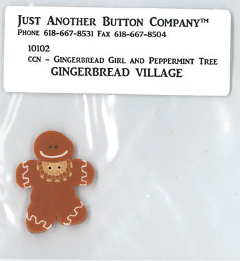 Country Cottage  ~ Gingerbread Girl & Peppermint Tree JABC GB Button
