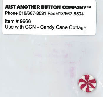 Country Cottage ~ Candy Cane Cottage JABC Peppermint Button